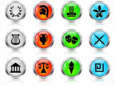 Web metal buttons, Greece symbols Vector