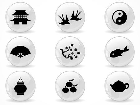 Netz-Kn�pfe, asiatischen Symbole Illustration