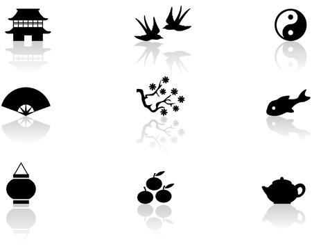 golondrinas: S�mbolos de Asia Vectores