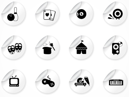 Set of stickers with icons Stock Vector - 9116278