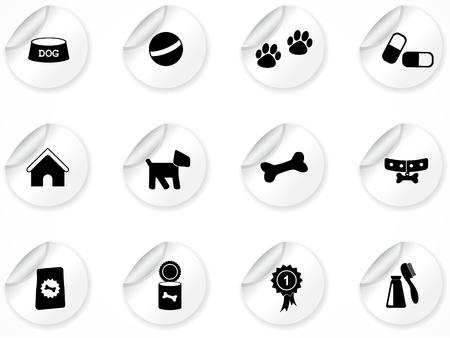 Conjunto de pegatinas con iconos Ilustración de vector