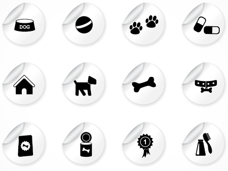 Set of stickers with icons Illustration