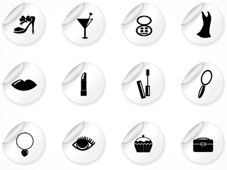 Set of stickers with icons Stock Vector - 9116212
