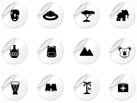 Set of stickers with icons Stock Vector - 9116226