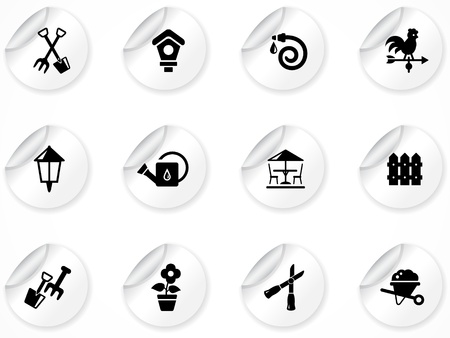 germinating: Set of stickers with icons Illustration