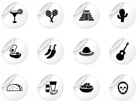 fajita: Set of stickers with icons Illustration
