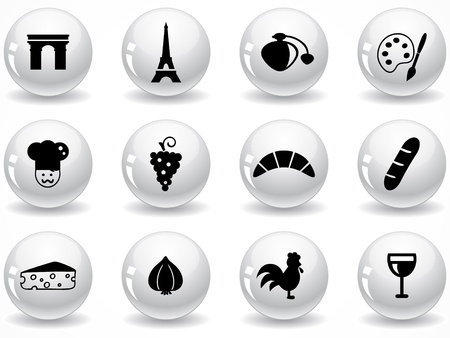 garlic bread: Set of glossy grey buttons with icons Illustration