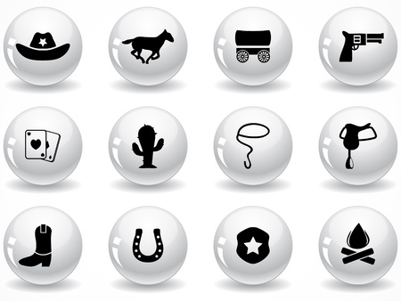 wagons: Set of glossy grey buttons with icons Illustration