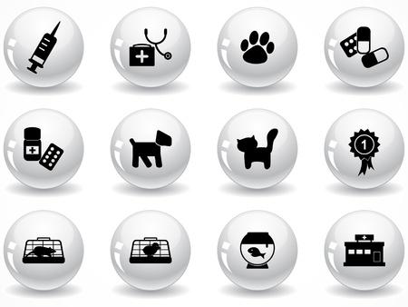 Gl�nzend grau Buttons mit Icons set