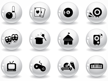 Set of glossy grey buttons with icons Stock Vector - 9162024