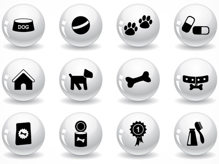 animals and pets: Set of glossy grey buttons with icons Illustration