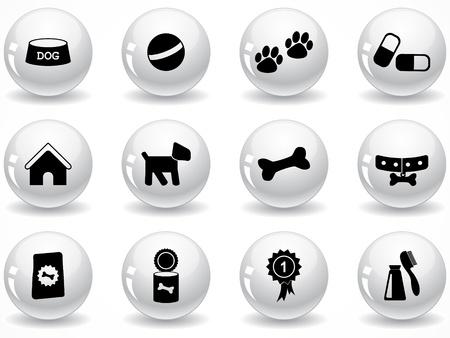 Conjunto de botones gris brillantes con iconos