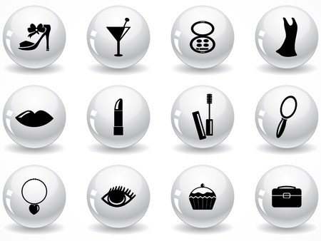 woman make up: Set of glossy grey buttons with icons Illustration