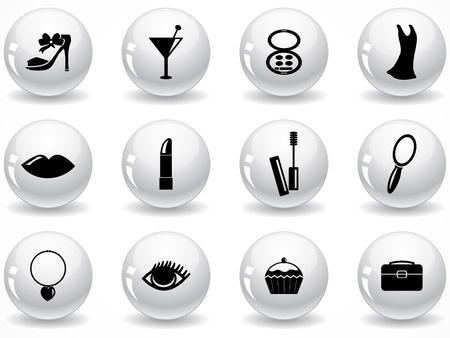 Set van glanzende grijze knoppen met pictogrammen