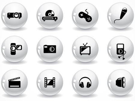 Set of glossy grey buttons with icons Stock Vector - 9162011