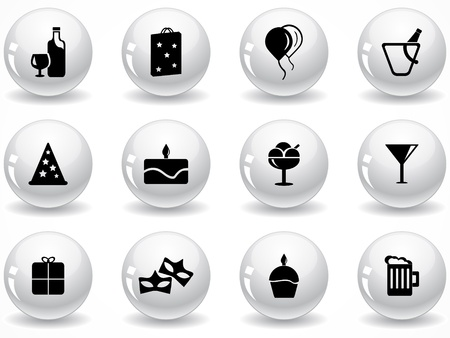 Set of glossy grey buttons with icons Stock Vector - 9161995