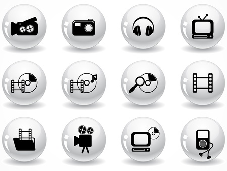 optical disk: Set of glossy grey buttons with icons Illustration
