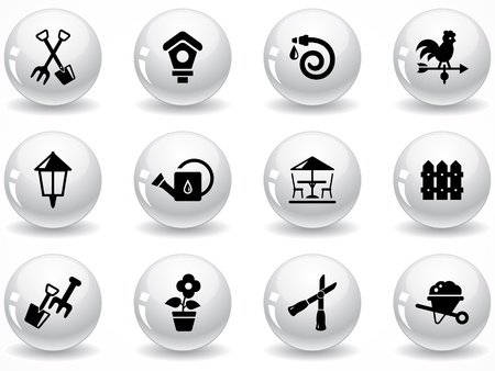 Set of glossy grey buttons with icons Stock Vector - 9162008