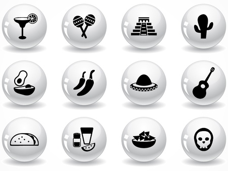 margarita drink: Set of glossy grey buttons with icons Illustration