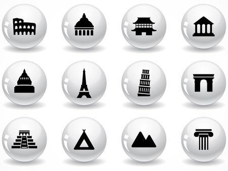 Netz-Knöpfe, Wahrzeichen icons