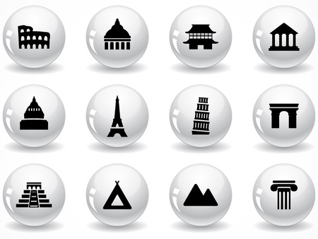temple tower: Web buttons, landmark icons Illustration