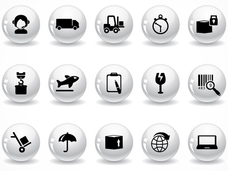glass containers:  Web buttons, logistics and shipping icons Illustration