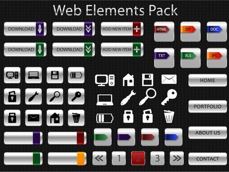 file types: Set of web elements pack Illustration