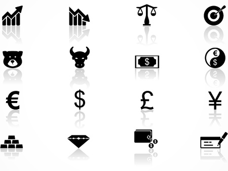 Set of black economics icons Illustration