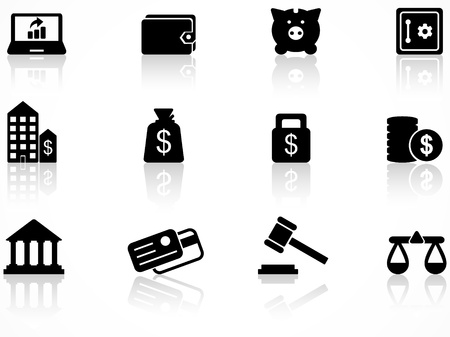 Set of black finance icons Illustration