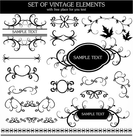 set of calligraphic vintage Stock Vector - 9461308