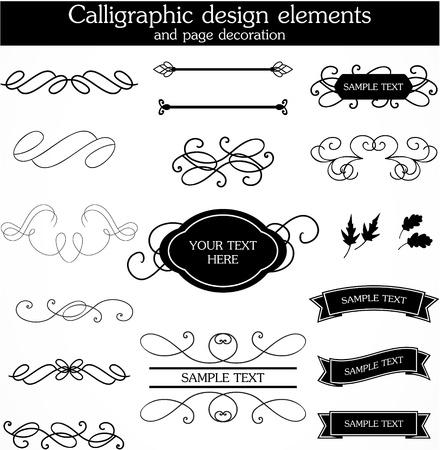 set of calligraphic design Illustration
