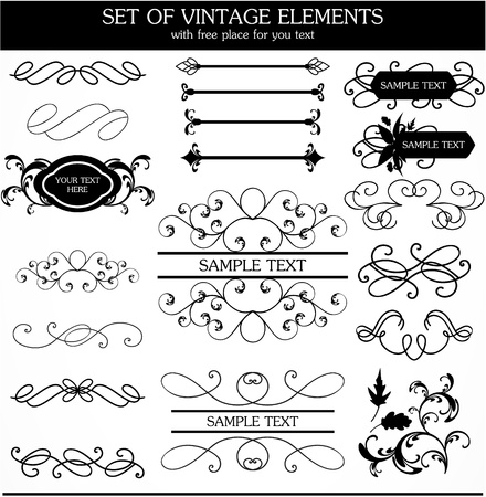 set of calligraphic vintage Illustration