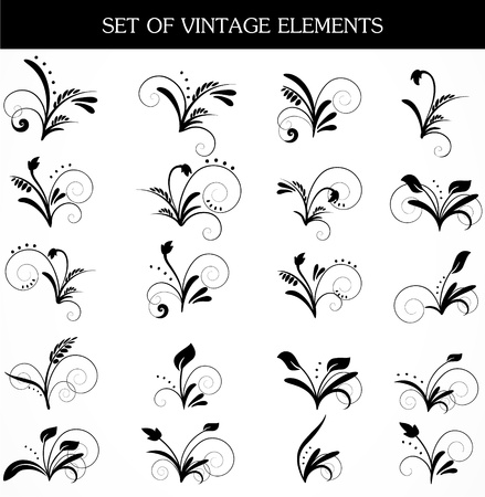 Vector set of design black elements