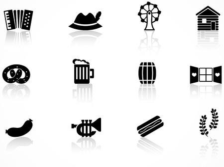 m�nchen: Set van zwart oktoberfest iconen