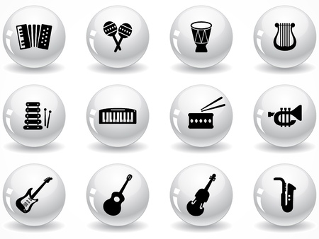 brass wind: Set of glossy grey buttons with icons Illustration