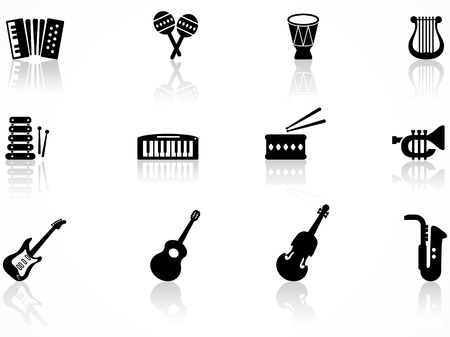Set of black musical instrument icons