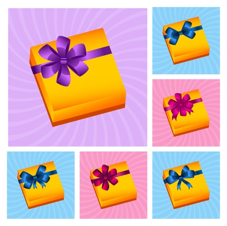gift color boxes with bows Vector