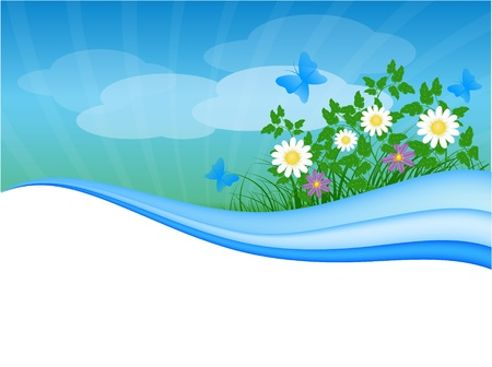 summer meadow background with place for your text Stock Vector - 9687110