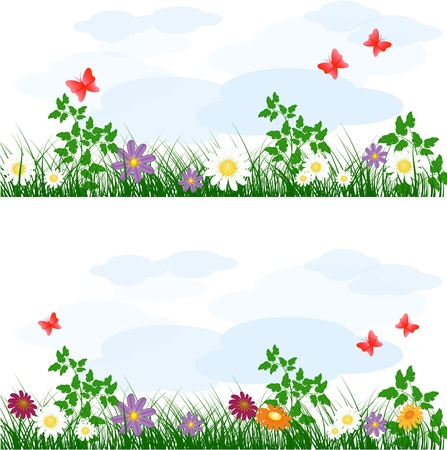 summer meadow background with flowers Stock Vector - 9687113
