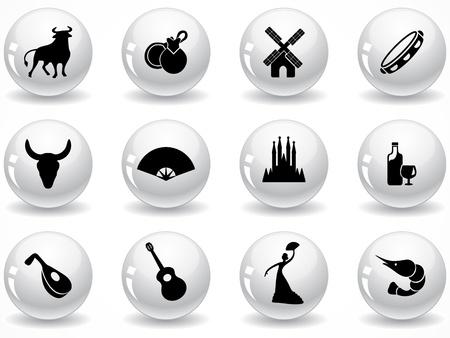 glänzend grau Buttons mit Icons Set