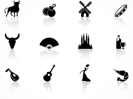 conjunto de iconos de cultura de España negro Ilustración de vector