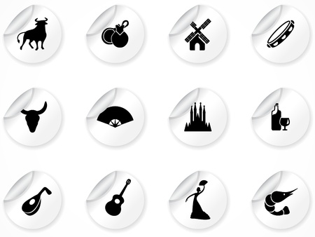 set of stickers with spain culture icons Vector