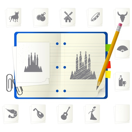 open notepad with different icons Stock Vector - 9717455
