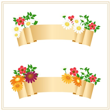 spring message: floral banners with place for your text Illustration