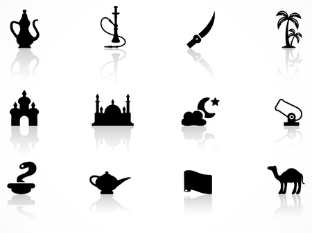 hookah: set of black arabic culture icons Illustration