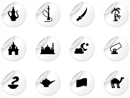 set of stickers with arabic culture icons Vector