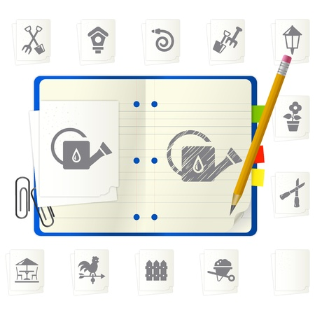open notepad with different icons Stock Vector - 9892851