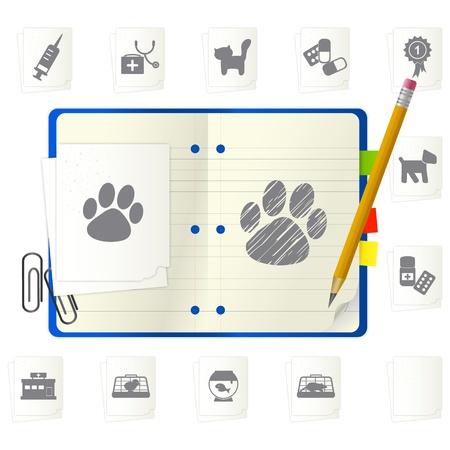 veterinarian symbol: Blocco note aperto con diverse icone Vettoriali
