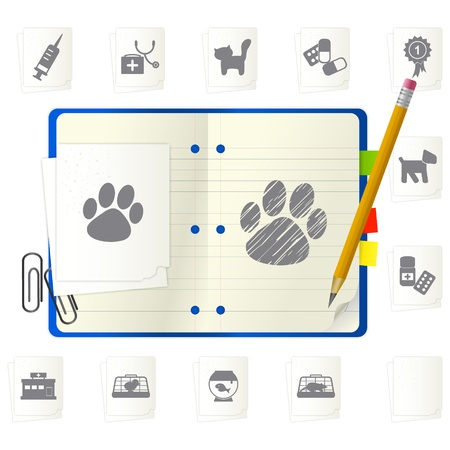 Open notepad with different icons Stock Vector - 9892855