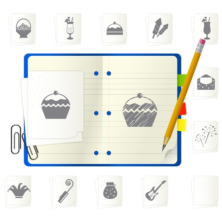 Open notepad with different icons Stock Vector - 9892877